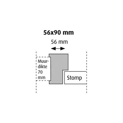 Hardhout kozijn stomp gegrond 56x90x2315mm